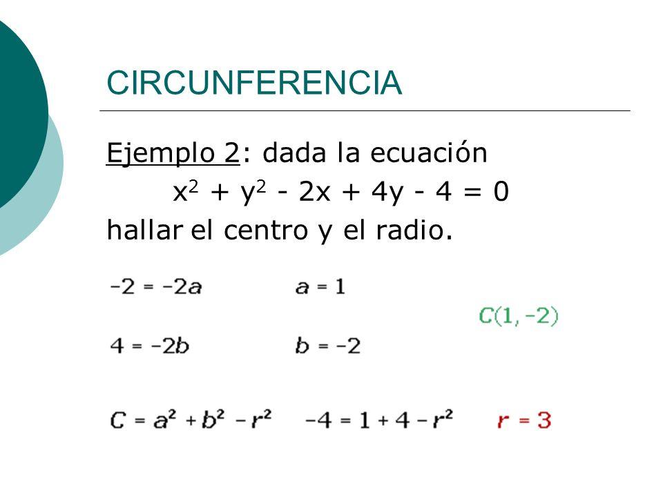 CIRCUNFERENCIA Ejemplo 2: dada la ecuación x2 + y2 - 2x + 4y - 4 = 0