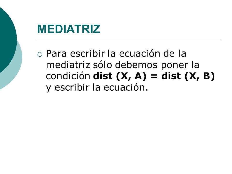 MEDIATRIZPara escribir la ecuación de la mediatriz sólo debemos poner la condición dist (X, A) = dist (X, B) y escribir la ecuación.
