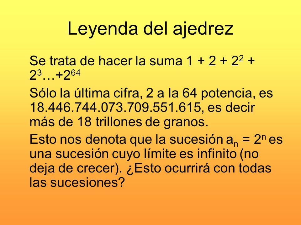 Leyenda del ajedrez Se trata de hacer la suma 1 + 2 + 22 + 23…+264