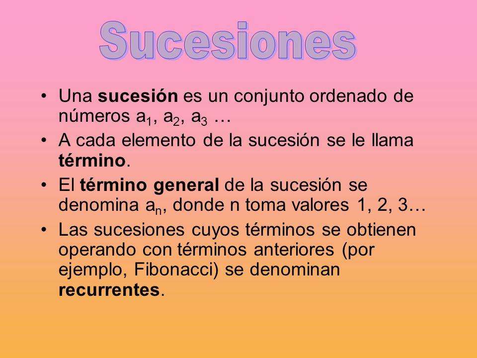 SucesionesUna sucesión es un conjunto ordenado de números a1, a2, a3 … A cada elemento de la sucesión se le llama término.