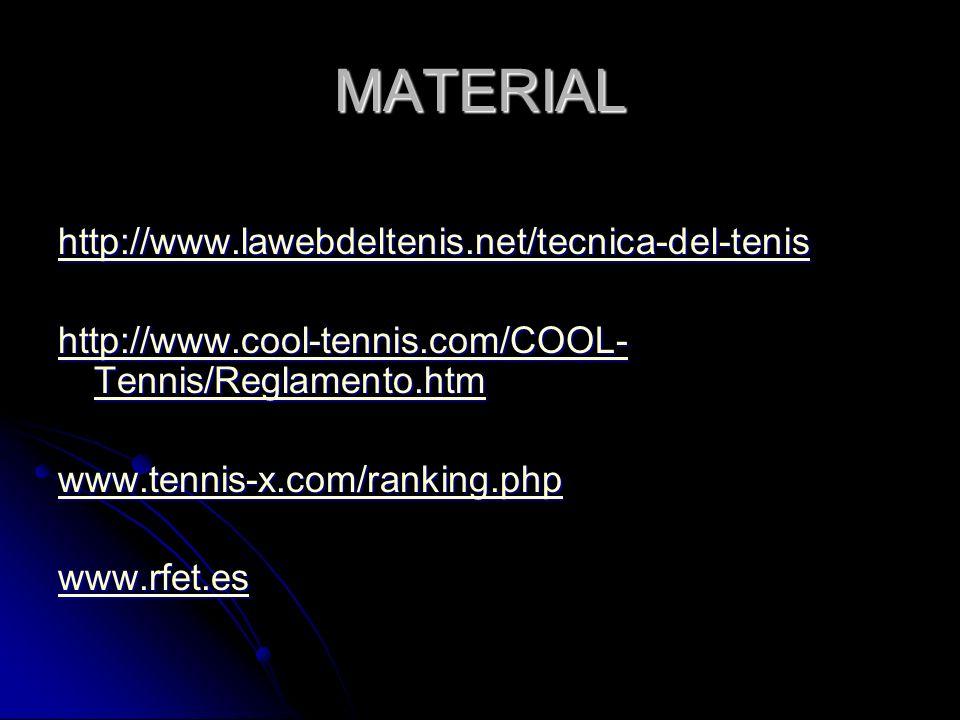 MATERIAL http://www.lawebdeltenis.net/tecnica-del-tenis