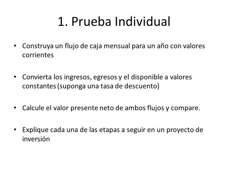 1. Prueba Individual Construya un flujo de caja mensual para un año con valores corrientes.