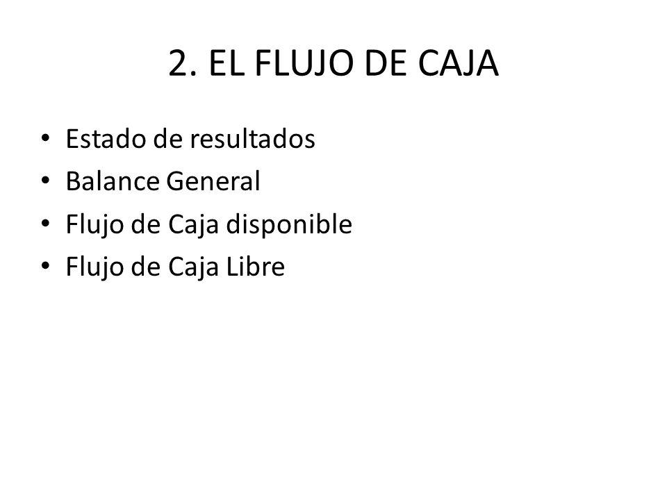 2. EL FLUJO DE CAJA Estado de resultados Balance General