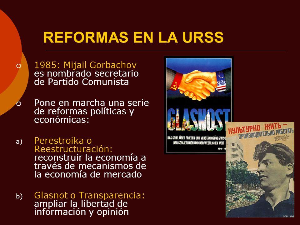 REFORMAS EN LA URSS1985: Mijail Gorbachov es nombrado secretario de Partido Comunista. Pone en marcha una serie de reformas políticas y económicas: