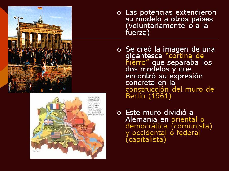 Las potencias extendieron su modelo a otros países (voluntariamente o a la fuerza)