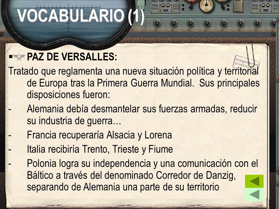 VOCABULARIO (1) PAZ DE VERSALLES: