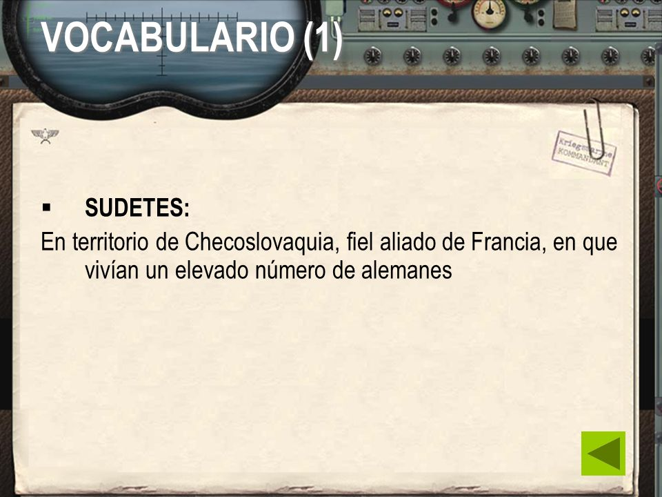 VOCABULARIO (1) SUDETES: