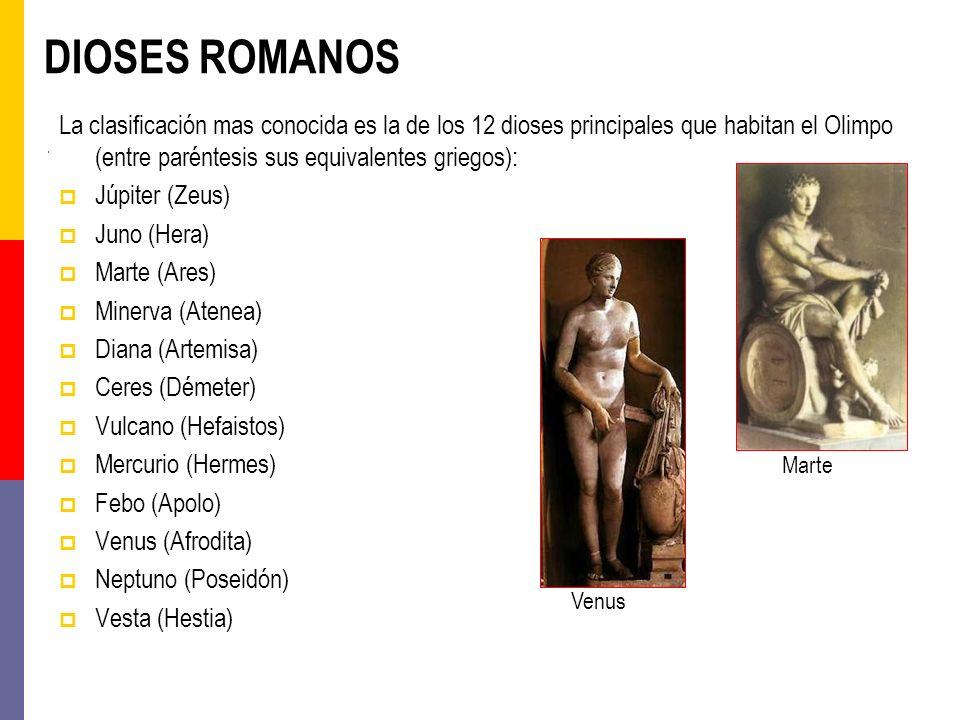 DIOSES ROMANOS La clasificación mas conocida es la de los 12 dioses principales que habitan el Olimpo (entre paréntesis sus equivalentes griegos):