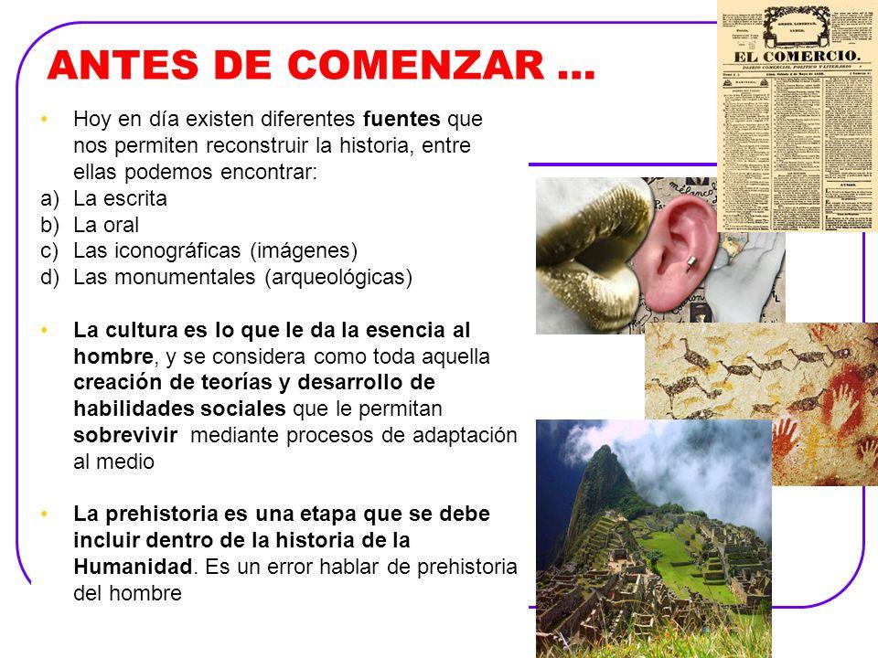 ANTES DE COMENZAR …Hoy en día existen diferentes fuentes que nos permiten reconstruir la historia, entre ellas podemos encontrar: