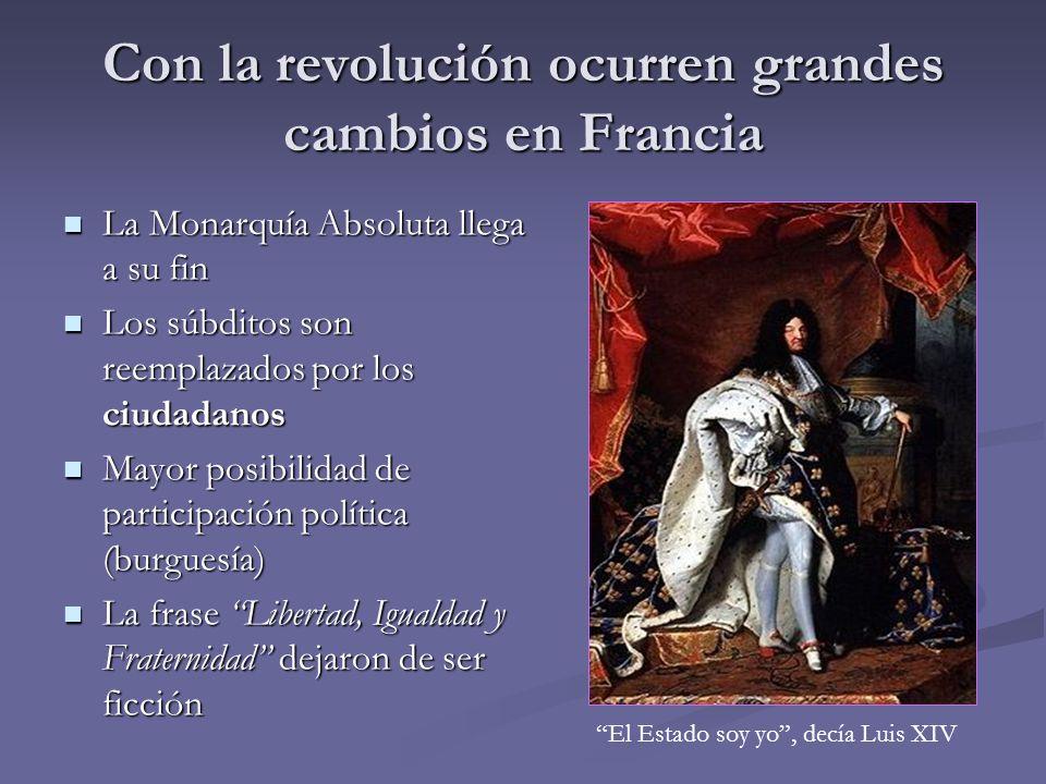 Con la revolución ocurren grandes cambios en Francia
