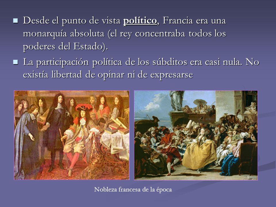 Desde el punto de vista político, Francia era una monarquía absoluta (el rey concentraba todos los poderes del Estado).