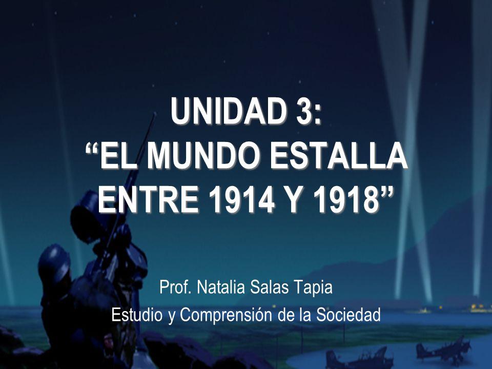 UNIDAD 3: EL MUNDO ESTALLA ENTRE 1914 Y 1918