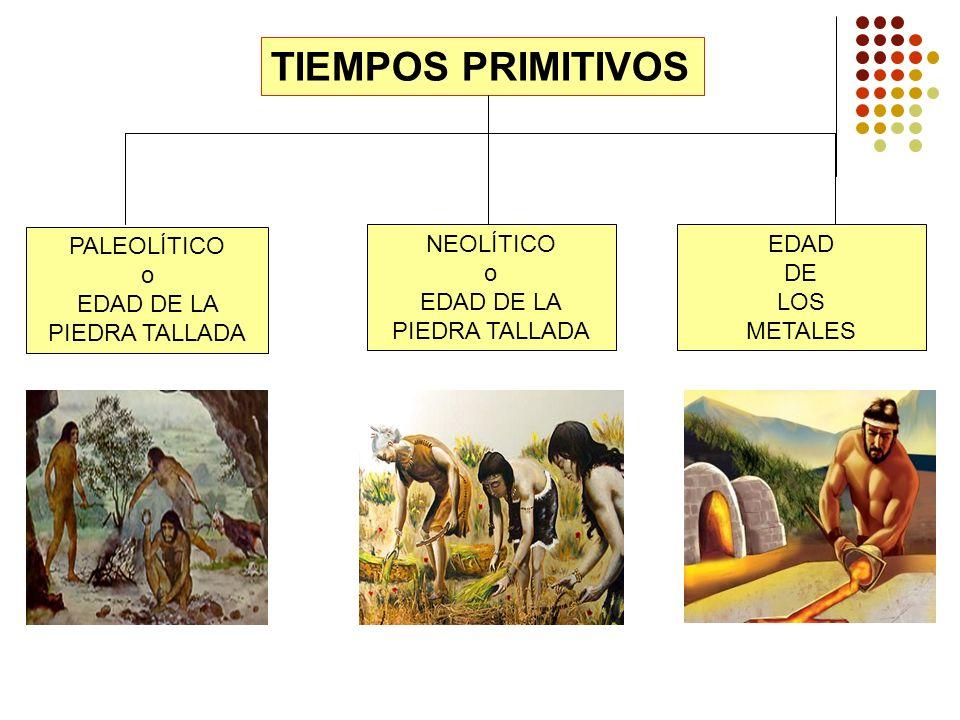 TIEMPOS PRIMITIVOS PALEOLÍTICO o EDAD DE LA PIEDRA TALLADA NEOLÍTICO o