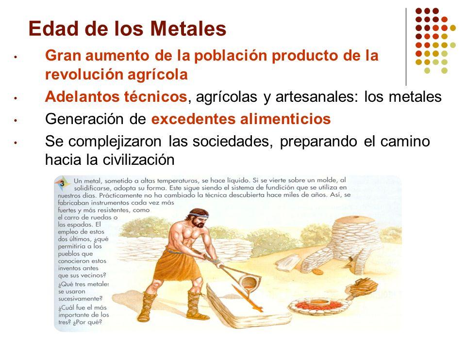 Edad de los Metales Gran aumento de la población producto de la revolución agrícola. Adelantos técnicos, agrícolas y artesanales: los metales.