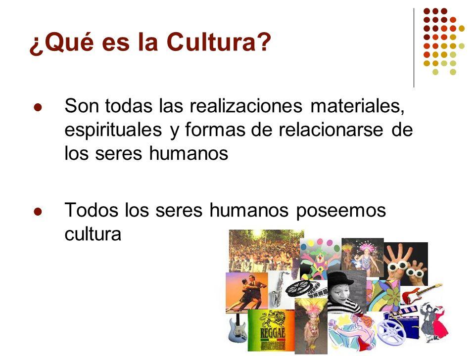 ¿Qué es la Cultura Son todas las realizaciones materiales, espirituales y formas de relacionarse de los seres humanos.