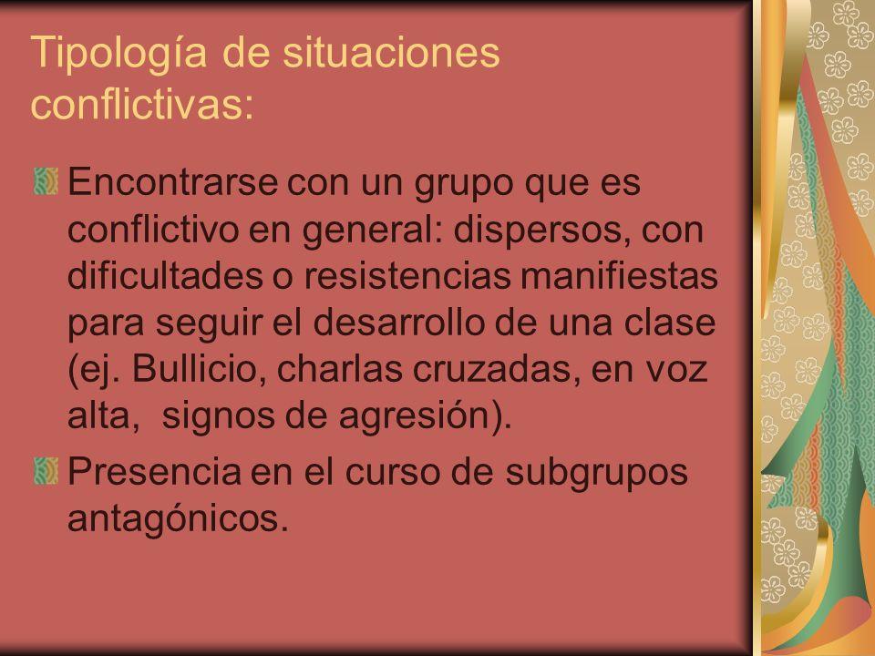 Tipología de situaciones conflictivas: