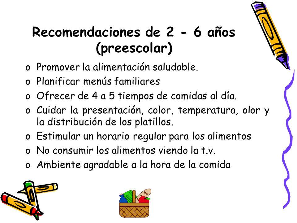 Recomendaciones de 2 - 6 años (preescolar)