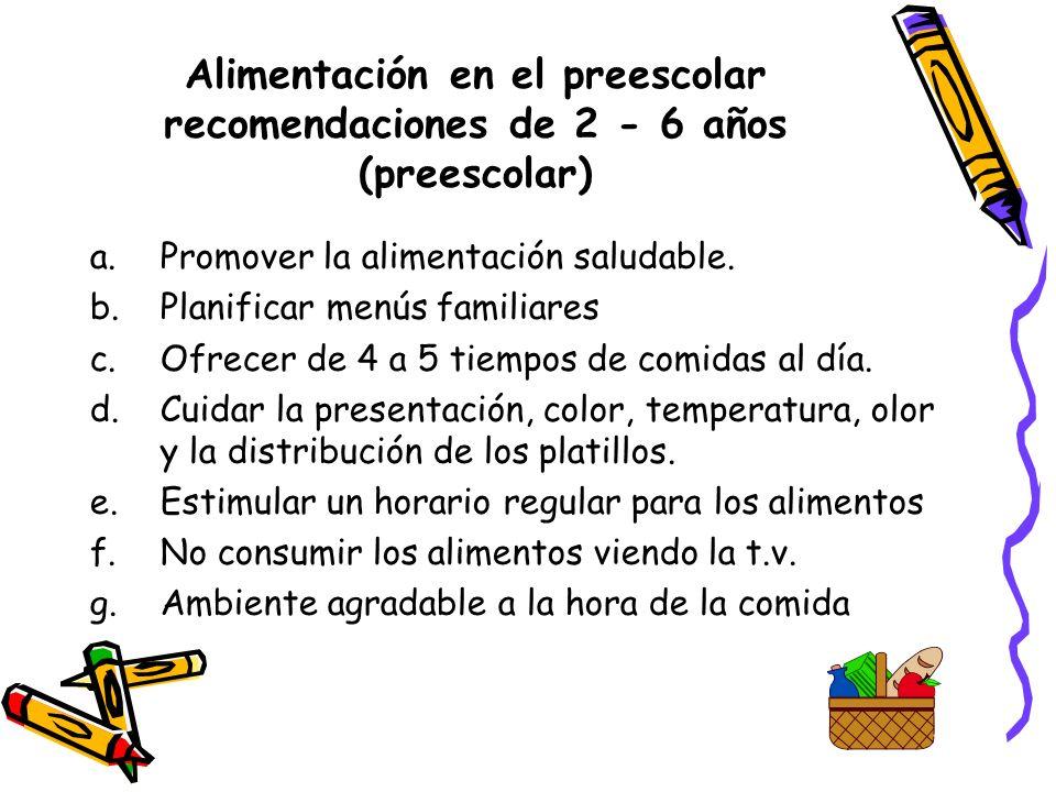 Alimentación en el preescolar recomendaciones de 2 - 6 años (preescolar)
