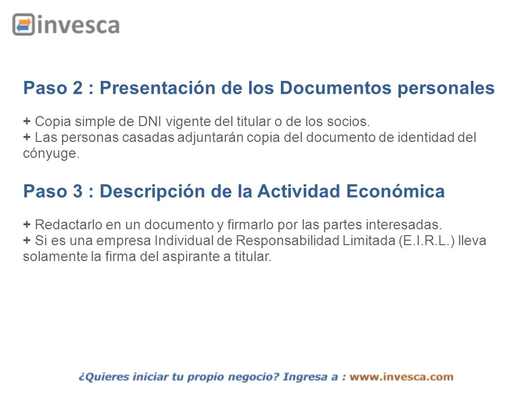 Paso 2 : Presentación de los Documentos personales