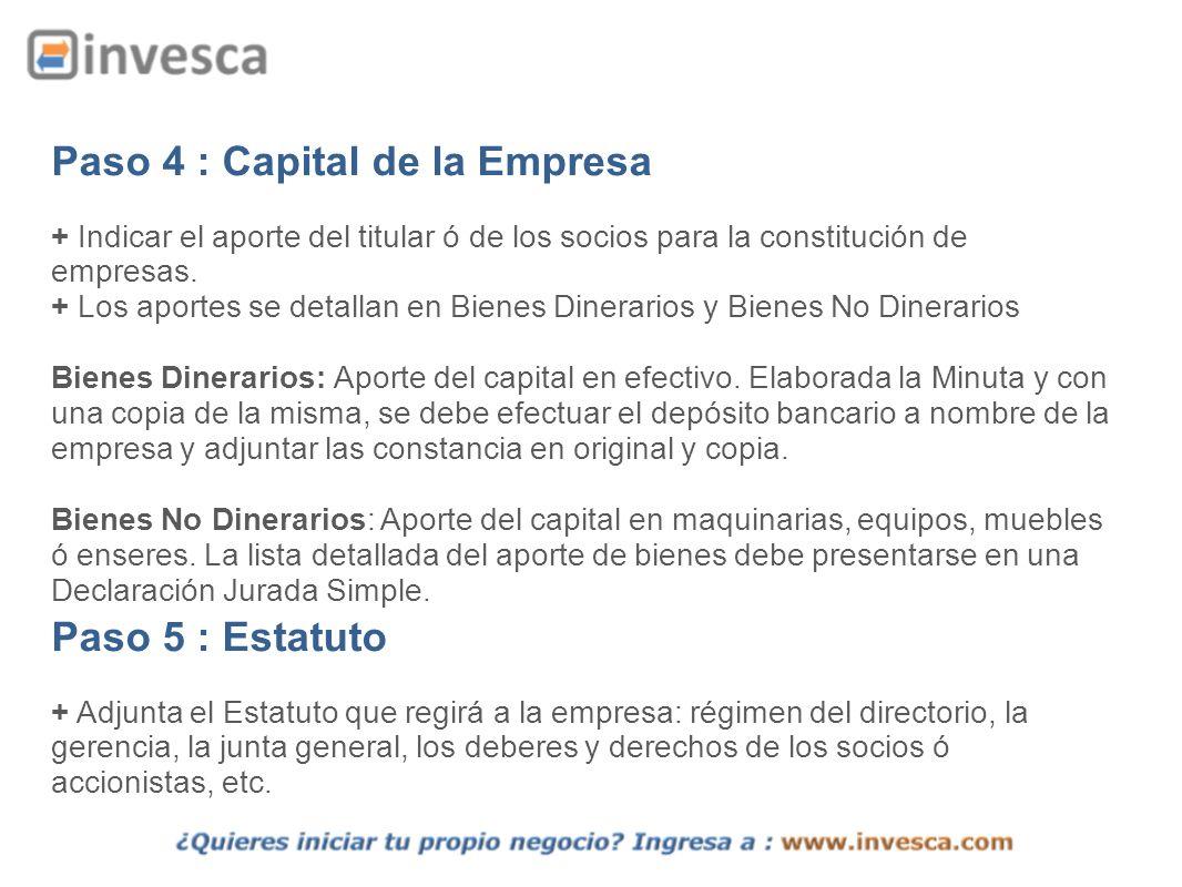 Paso 4 : Capital de la Empresa