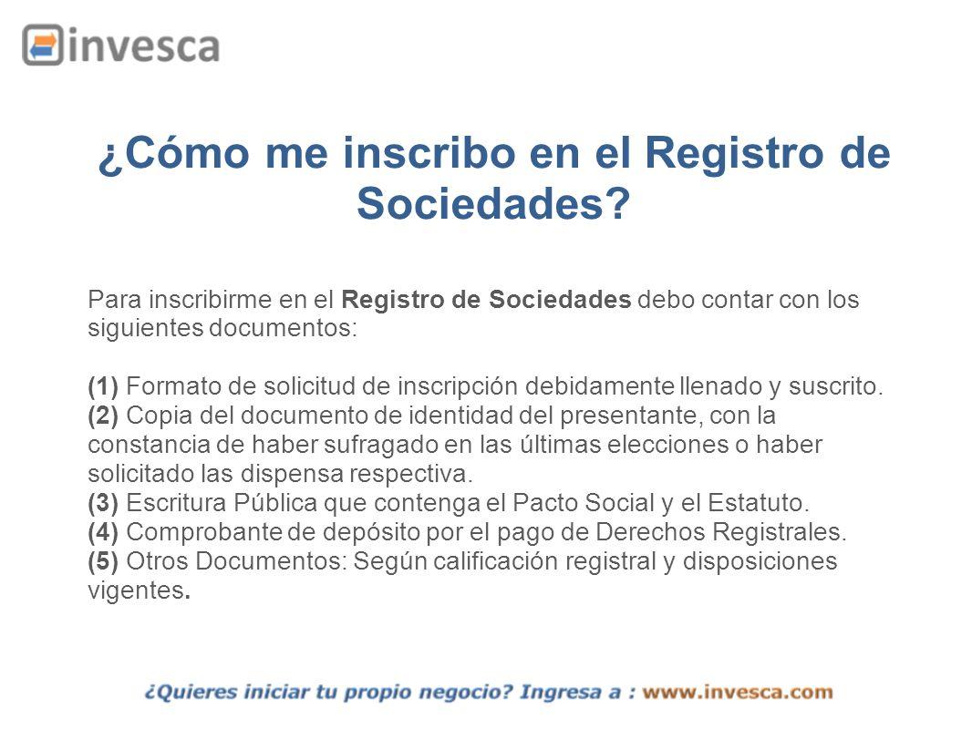 ¿Cómo me inscribo en el Registro de Sociedades