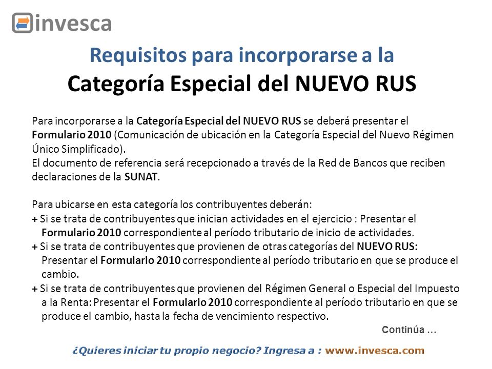 Requisitos para incorporarse a la