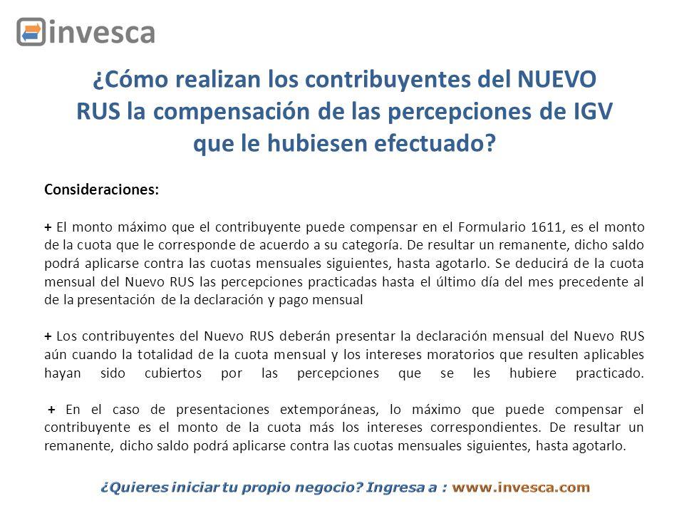 ¿Cómo realizan los contribuyentes del NUEVO RUS la compensación de las percepciones de IGV que le hubiesen efectuado