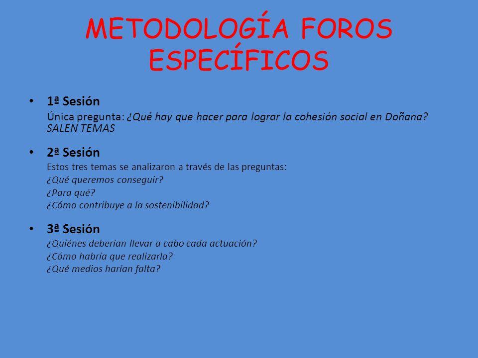 METODOLOGÍA FOROS ESPECÍFICOS