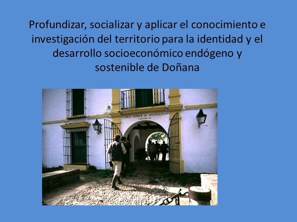 Profundizar, socializar y aplicar el conocimiento e investigación del territorio para la identidad y el desarrollo socioeconómico endógeno y sostenible de Doñana