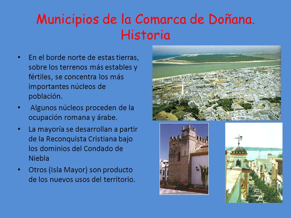 Municipios de la Comarca de Doñana. Historia