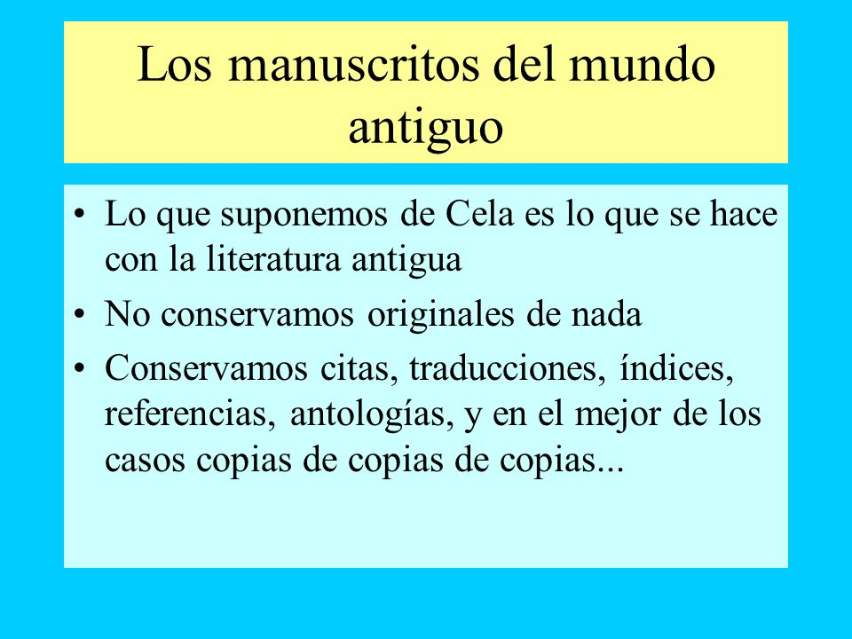 Los manuscritos del mundo antiguo