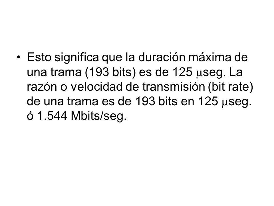 Esto significa que la duración máxima de una trama (193 bits) es de 125 seg.