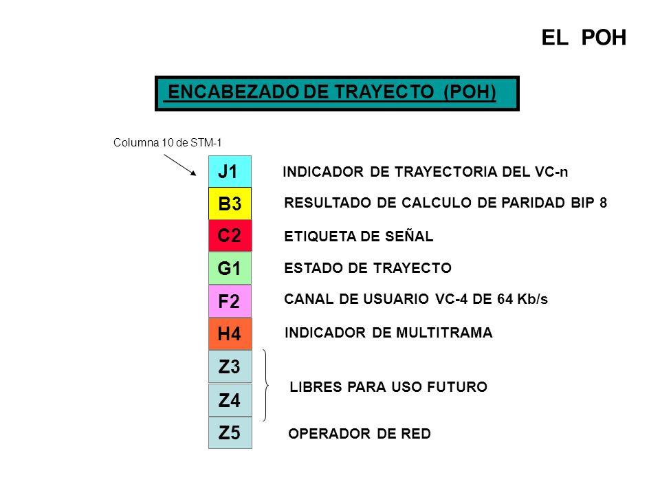 EL POH ENCABEZADO DE TRAYECTO (POH) J1 B3 C2 G1 F2 H4 Z3 Z4 Z5