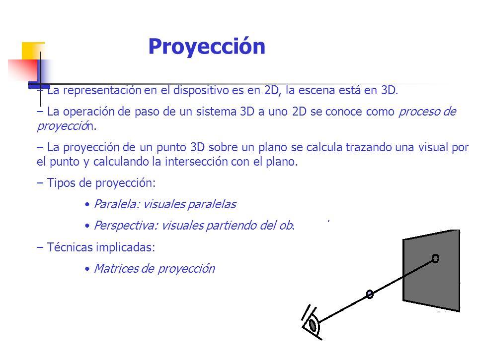 Proyección – La representación en el dispositivo es en 2D, la escena está en 3D.