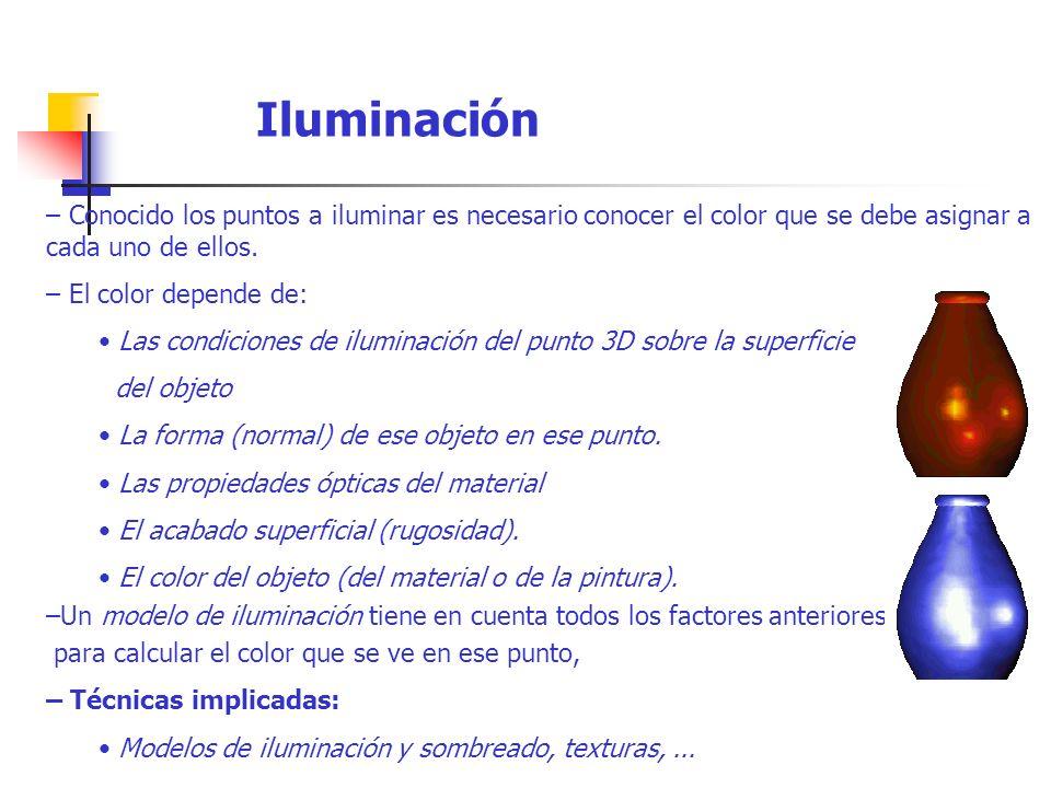 Iluminación – Conocido los puntos a iluminar es necesario conocer el color que se debe asignar a cada uno de ellos.