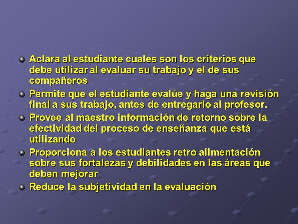 Aclara al estudiante cuales son los criterios que debe utilizar al evaluar su trabajo y el de sus compañeros