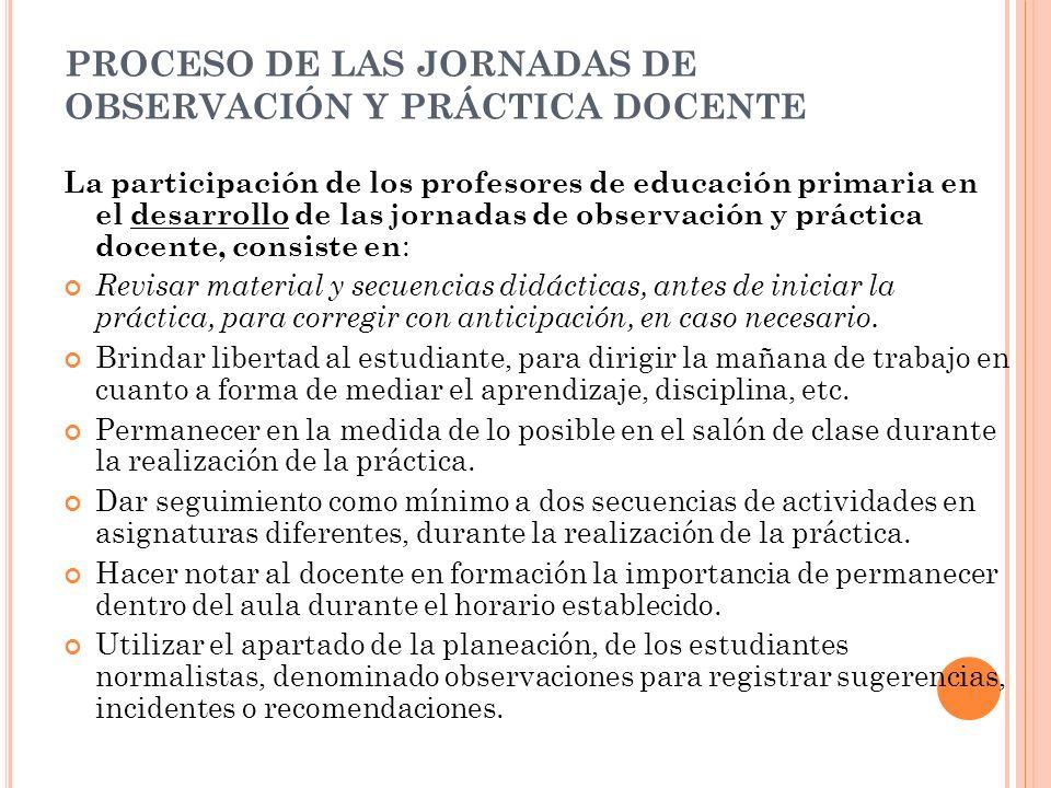 PROCESO DE LAS JORNADAS DE OBSERVACIÓN Y PRÁCTICA DOCENTE