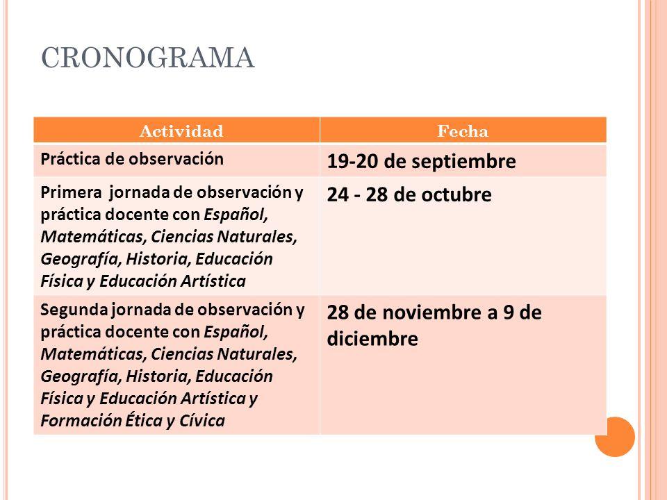 CRONOGRAMA 19-20 de septiembre 24 - 28 de octubre