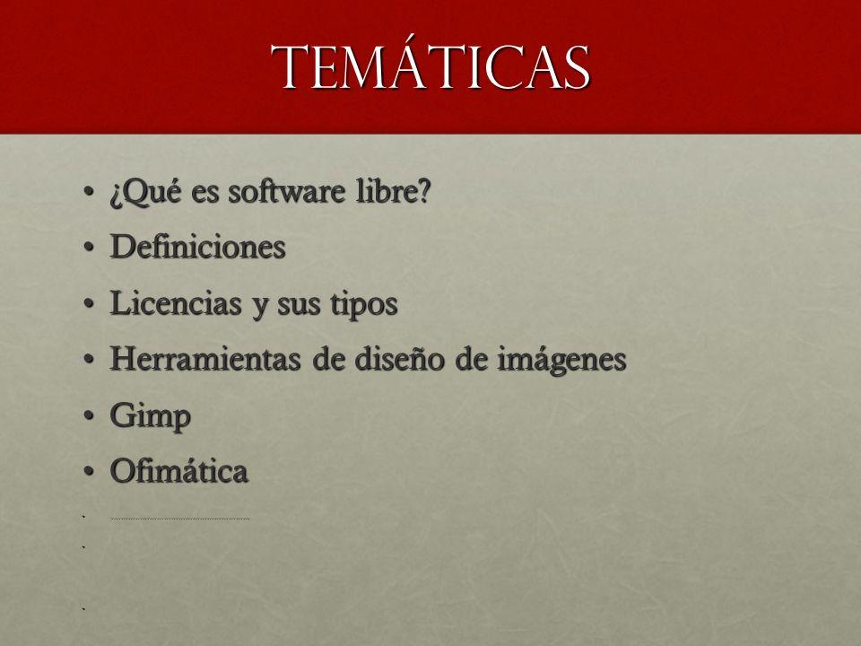 Temáticas ¿Qué es software libre Definiciones Licencias y sus tipos