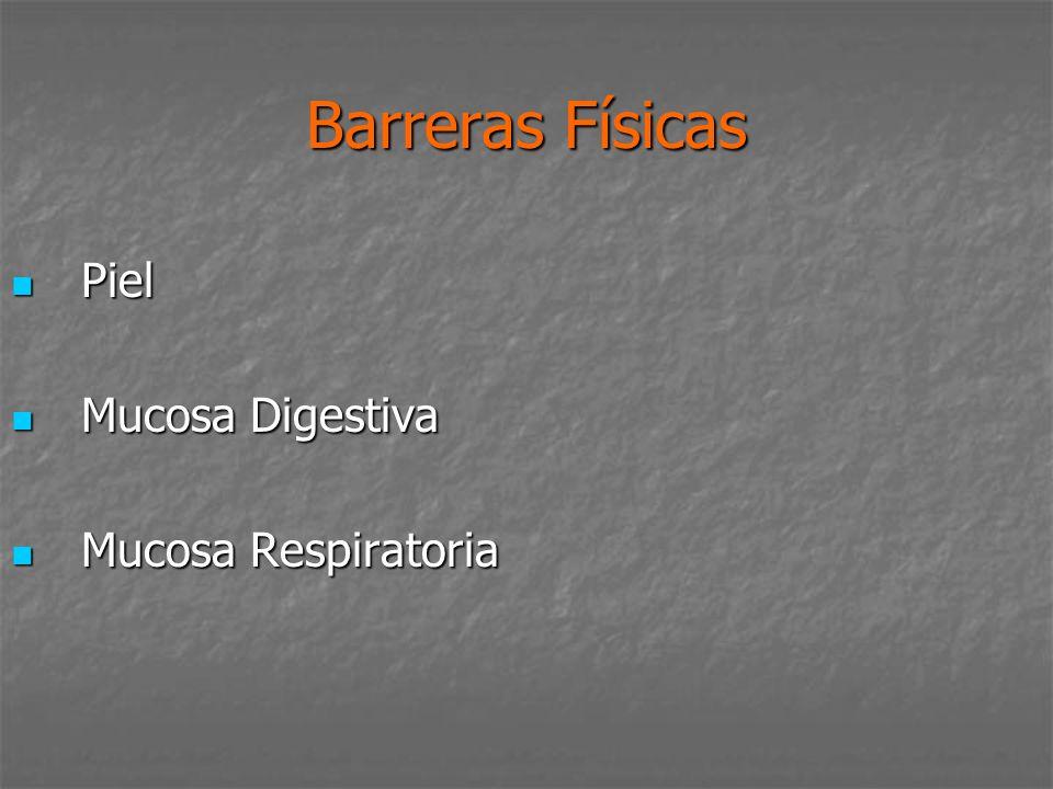 Barreras Físicas Piel Mucosa Digestiva Mucosa Respiratoria