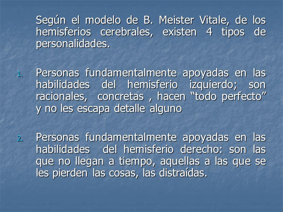 Según el modelo de B. Meister Vitale, de los hemisferios cerebrales, existen 4 tipos de personalidades.