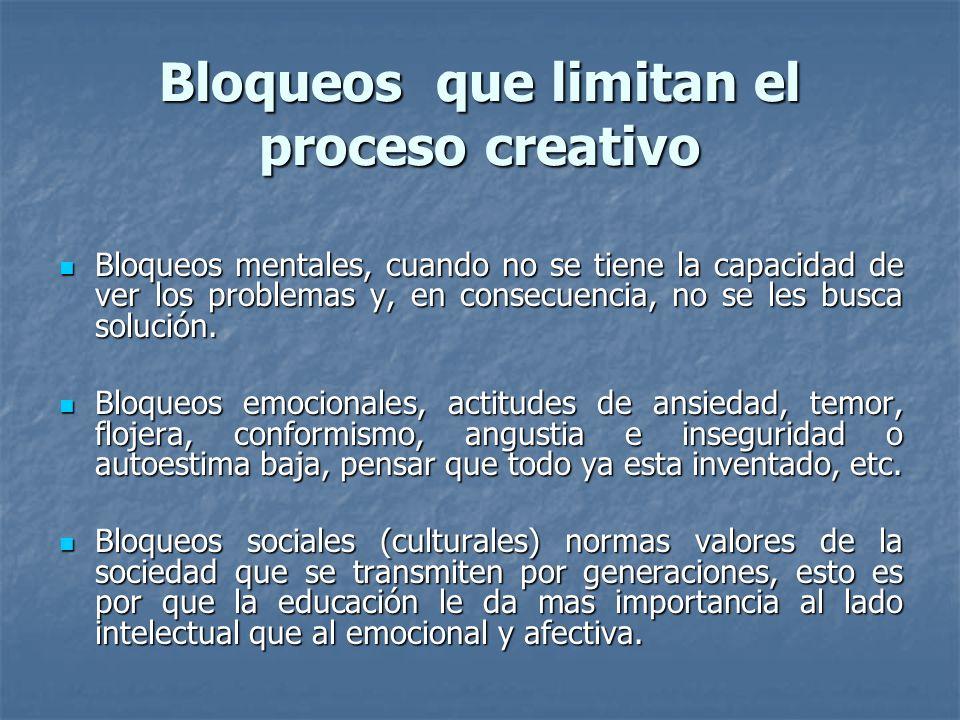 Bloqueos que limitan el proceso creativo