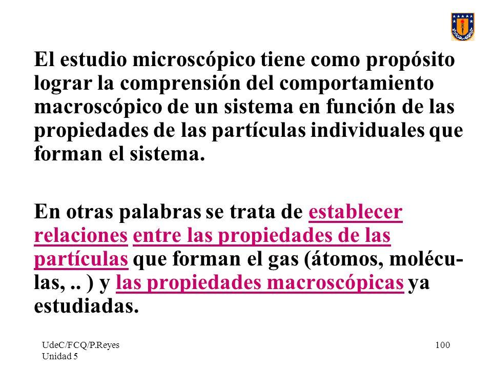 El estudio microscópico tiene como propósito lograr la comprensión del comportamiento macroscópico de un sistema en función de las propiedades de las partículas individuales que forman el sistema.