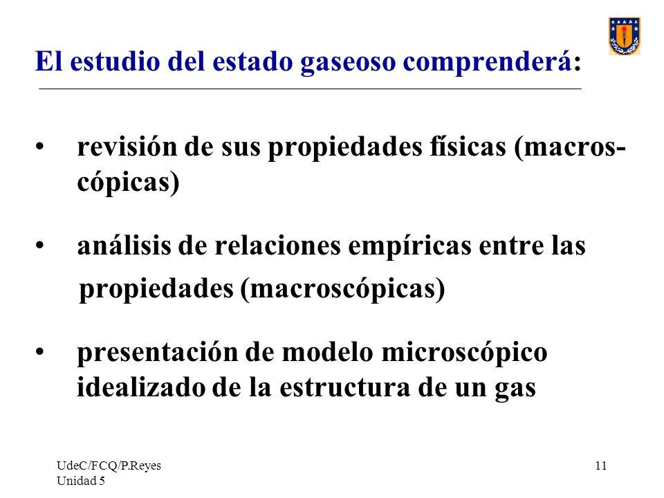 El estudio del estado gaseoso comprenderá: