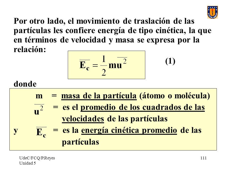 m = masa de la partícula (átomo o molécula)