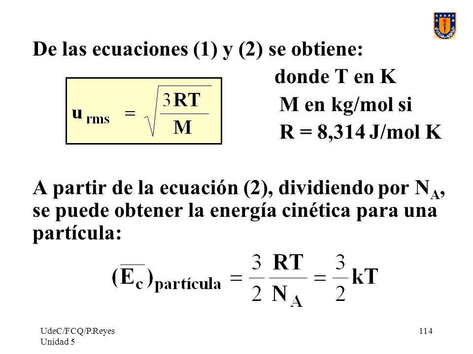 De las ecuaciones (1) y (2) se obtiene: donde T en K M en kg/mol si