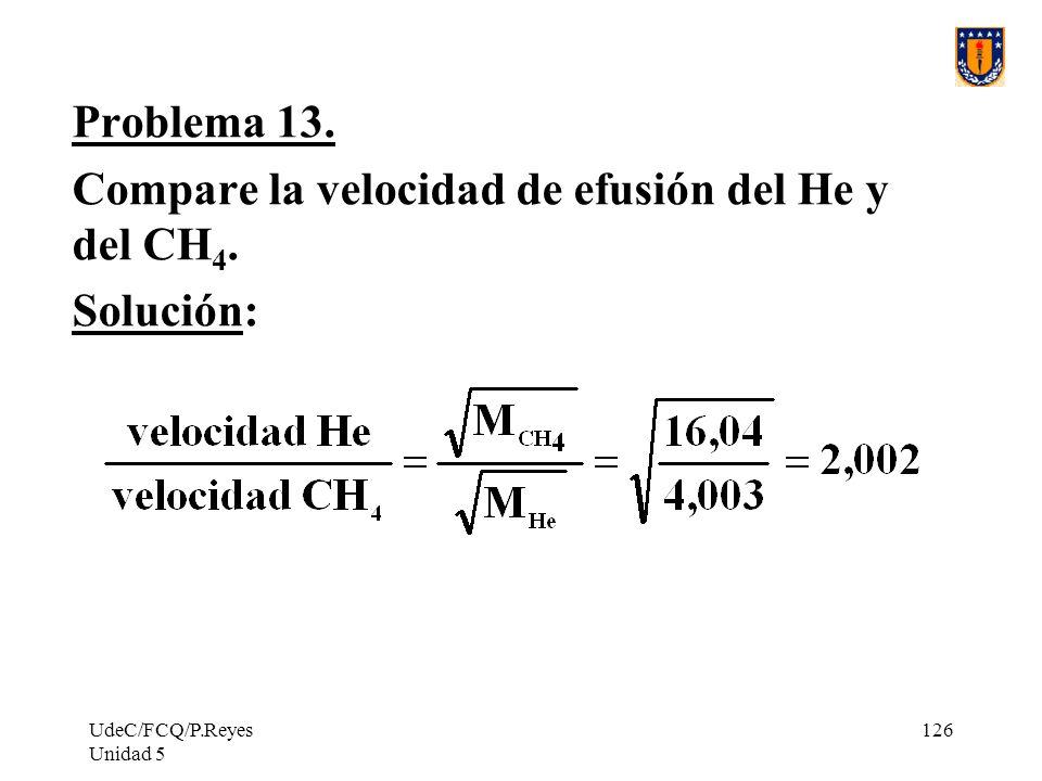 Compare la velocidad de efusión del He y del CH4. Solución: