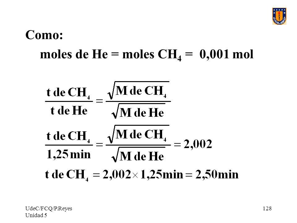 moles de He = moles CH4 = 0,001 mol