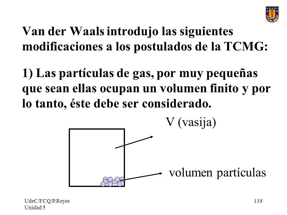 Van der Waals introdujo las siguientes modificaciones a los postulados de la TCMG: