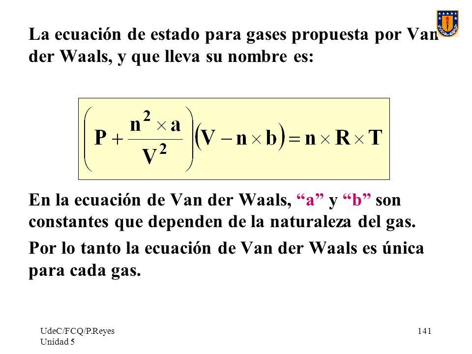 Por lo tanto la ecuación de Van der Waals es única para cada gas.